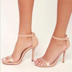 NWT Lulu's ELSI Nude PVC Ankle Heels - size 6